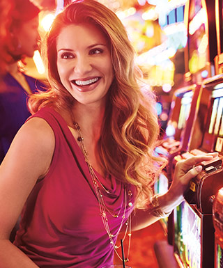 woman at a slot machine